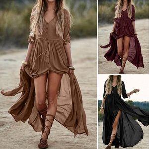 Gypsy Goddess Button Down Maxi Dress